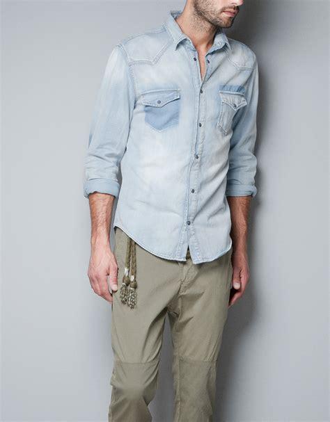 Zaraman Cotton Shirt zara bleached denim shirt in blue for lyst