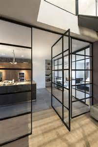 Steel Glass Door Apartment With Glass Railings In Steel Frame Door With Clear Glass Windows And Using Thin