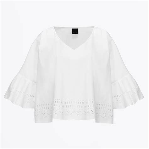 Essential Home White Lazer Cut Panca Lazer Cut Blouse S Shirts Blouses For