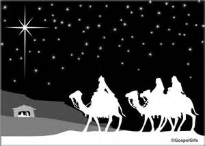 Christian clip art christmas image three wise men in black and