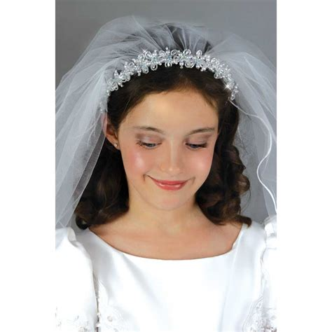 communion hairstyles with headband veil headbands with veils