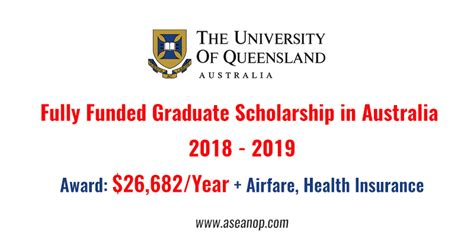 Fully Funded Mba Scholarships In Australia by The Of Queensland Master And Phd Scholarship
