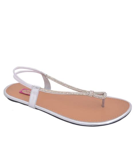 silver flat sandal myra silver flat sandals price in india buy myra silver