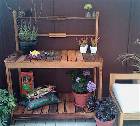 potting bench made from pallets diy wooden pallet potting bench pallets designs