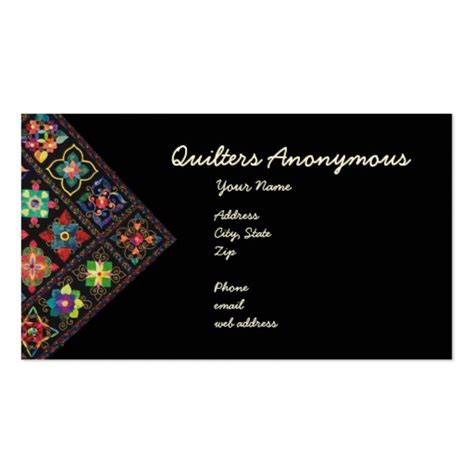 card anonymous quilters anonymous business card zazzle