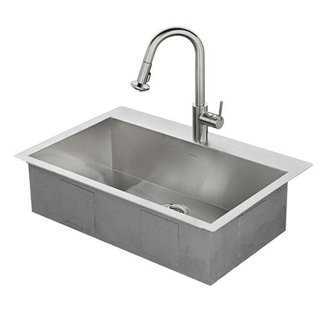 Single Bowl Stainless Steel Kitchen Sink Shop American Standard 33 In X 22 In Single Basin Stainless Steel Drop In Or Undermount