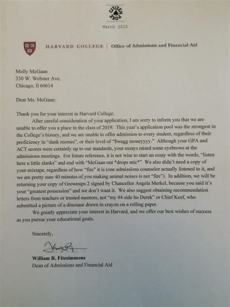College Letter Declining Acceptance Hilarious Responses To College Rejection Letters