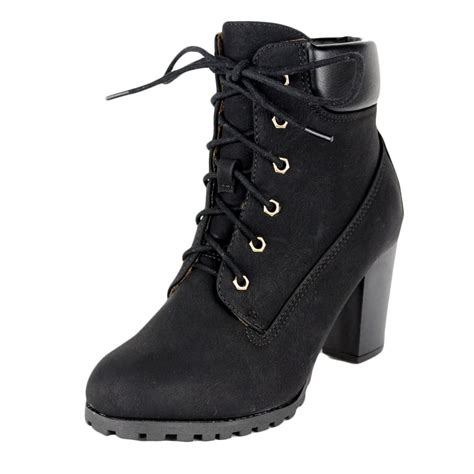 Faux Leather Lace Up Ankle Boots womens ankle boots rugged lace up high heel shoes black