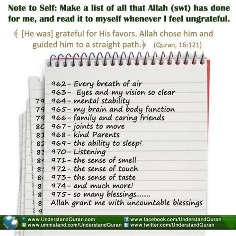 make a list of blessings daily duas