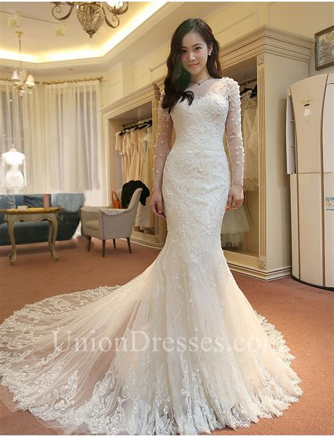 Memraid Illusion Neckline Long Sleeve Lace Beaded Wedding Dress With Buttons