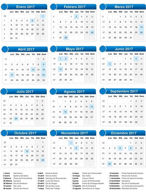 Calendario De Trabajo 2017 Empleo Calendario Laboral 2017 Empleo