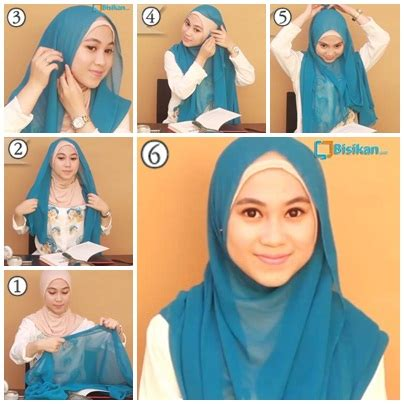 tutorial hijab paris ke kus tutorial segiempat simple style wanita cantik cara