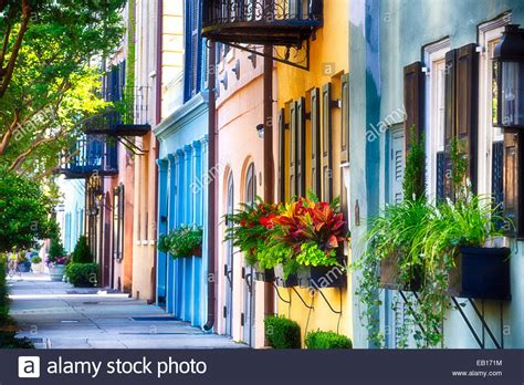 we buy houses charleston sc row of colorful historic houses rainbow row east bay street stock photo royalty
