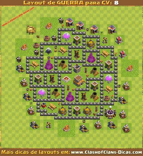 layout vila cv 8 layouts para cv8 em guerra clash of clans dicas gemas