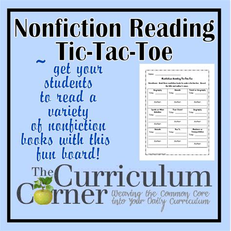 types of picture books nonfiction reading tic tac toe the curriculum corner 123