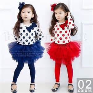 Cute kids girls blue red dots top and tutu skirt leggings outfit sets