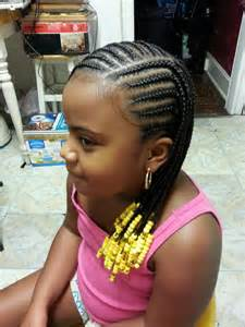 Little girl cornrow style african american natural protective nature