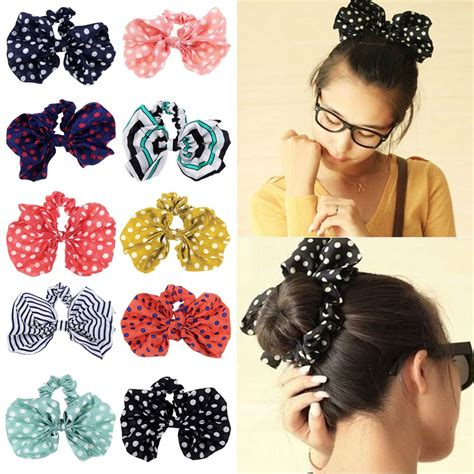 Parfum Korean Hair Clip korean kawaii big rabbit ear bow headband ponytail holder hair tie bands ebay