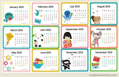 calendars with children free printable 2013 calendar for parenting times