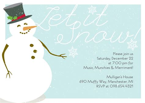 winter snowman invitation