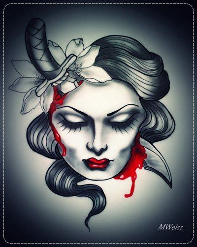 dead head with dagger tattoo flash by mweiss art on deviantart