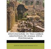 Disputationes In Tres Libros Aristotelis De Anima Opus Posthumum