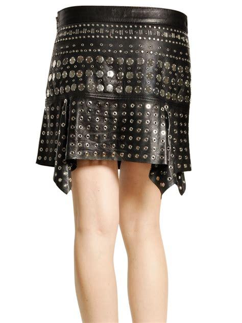 diesel black gold studded leather skirt in black lyst