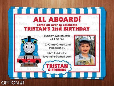 Printable Diy Blue And Red Thomas The Train Theme Personalized Happy Birthday Party Invitation Friends Themed Invitation Template