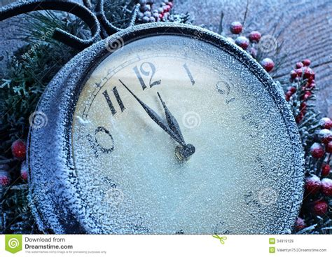 christmas clock  snow wooden background royalty  stock images image