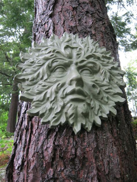 Ceramic Tree Decorations Garden Green Man Concrete Cement Face By Westwindhomegarden