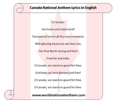 full version national anthem canada national anthem lyrics in english