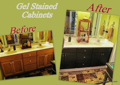 diy gel stain kitchen cabinets how to use gel stain diy gel stained master bath cabinet