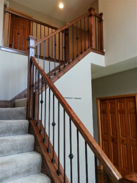 clean style oak and iron stairway mystairways