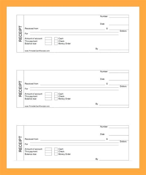 Fillable Receipt Template by Printable Receipt Template Kinoroom Club