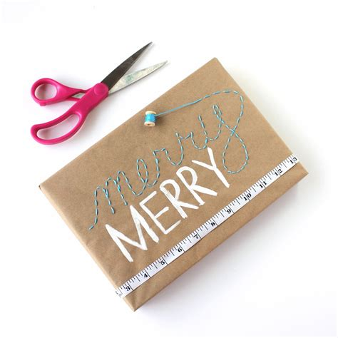 Craft Paper Wrapping Ideas - embroidered gift wrap and 24 kraft paper wrapping ideas