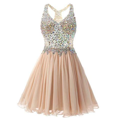 design dream prom dress chagne v neck rhinestones chagne short prom dress