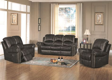 Gretna Traditional Black Leather Reclining Living Room Set Black Living Room Sets
