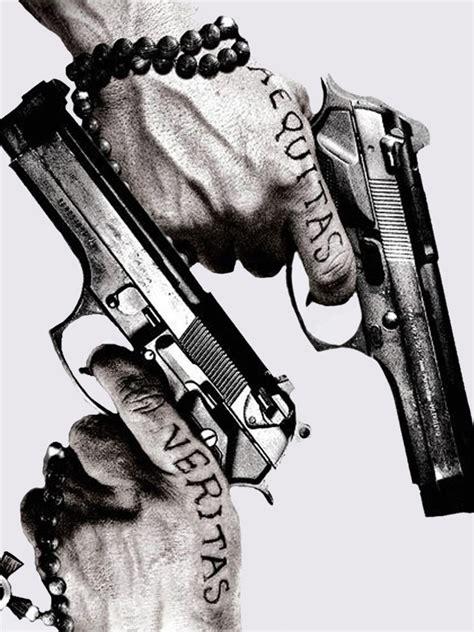 guns tattoos aequitas veritas android wallpaper free download