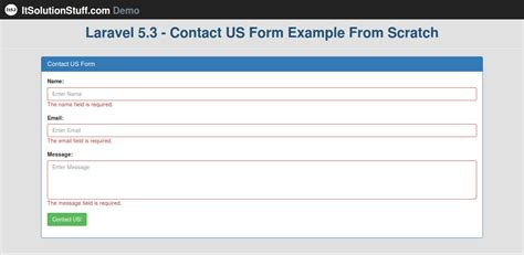 laravel 5 layout view laravel 5 3 create bootstrap contact us form using form
