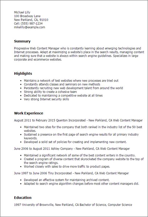 Web Content Specialist Sle Resume by Professional Web Content Manager Templates To Showcase Your Talent Myperfectresume