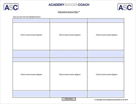 coaching session template interactive session plans academy soccer coach asc