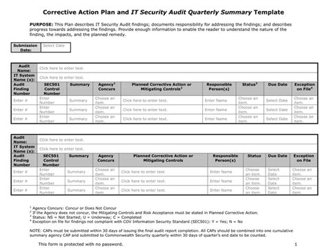 Corrective Action Plan In Word And Pdf Formats Audit Corrective Plan Template