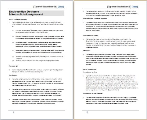 non solicitation agreement template ms word non disclosure agreement template free agreement