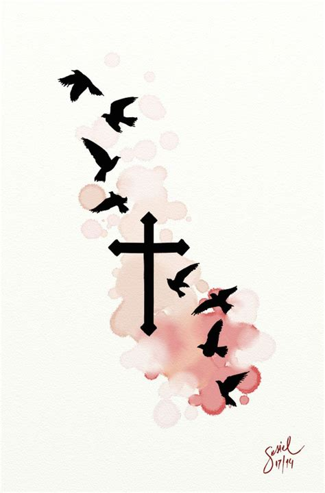 cross birds tattoo 1000 images about on
