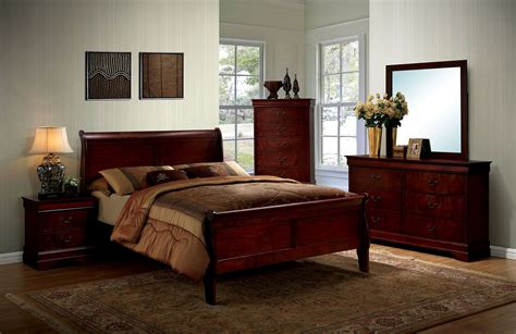 louis philippe bedroom set louis philippe iii cherry panel bedroom set cm7866ch q furniture of america