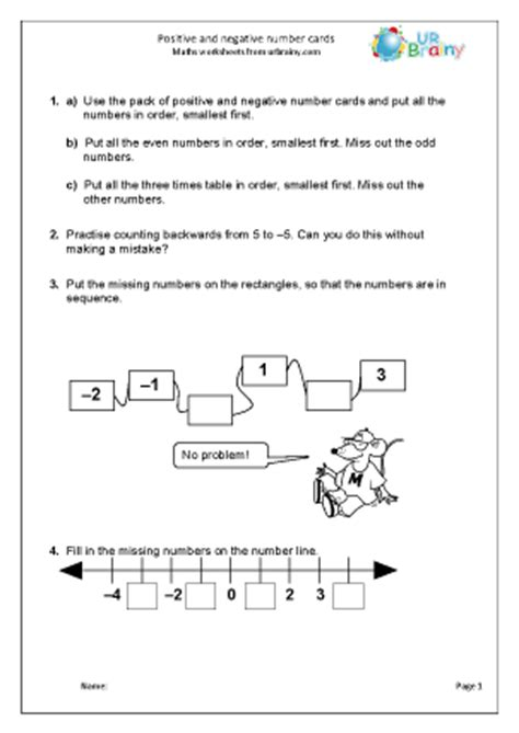 printable positive and negative number cards free printable math worksheets positive negative numbers