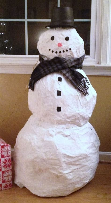 How To Make Paper Mache Snowman - paper mache snowman january