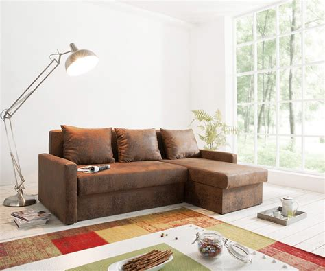 sofa kleine räume ecksofa avondi 225x145 cm braun ottomane variabel m 246 bel