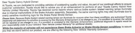 toyota warranty problems toyota extends warranty for some owners of camry hybrids