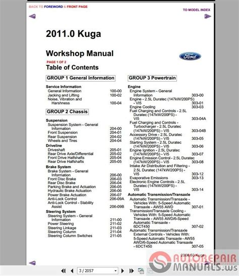 ford kuga mk1 2011 workshop manual wiring diagram auto